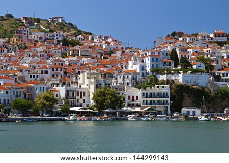 Skopelos island in Greece. View of the old port. - stock photo