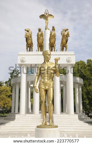 Skopje Landmarks and Monuments - Monument of heroes in Skopje, Macedonia  - stock photo