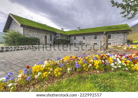 Skriouklaustur farm in eastern iceland. This building was a site of a monastery from 1493 until the Reformation, then a church till 1792. Was also a home of a number of prominent men. - stock photo