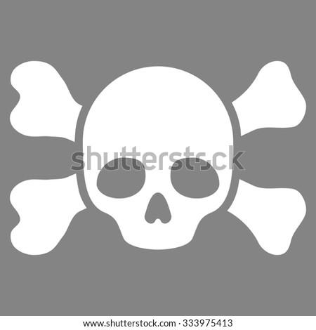 Skull And Bones glyph icon. Style is flat symbol, white color, rounded angles, gray background. - stock photo