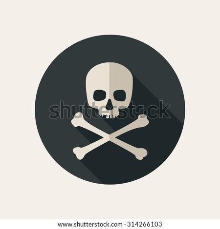 Skull and crossbones icon on round dark background. Raster version - stock photo