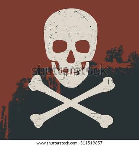 Skull and crossbones on dark background. Illustration symbol of danger. Raster version - stock photo