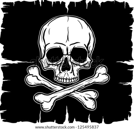Skull and Crossbones over black flag. Freehand drawing. Raster version of the illustration. - stock photo