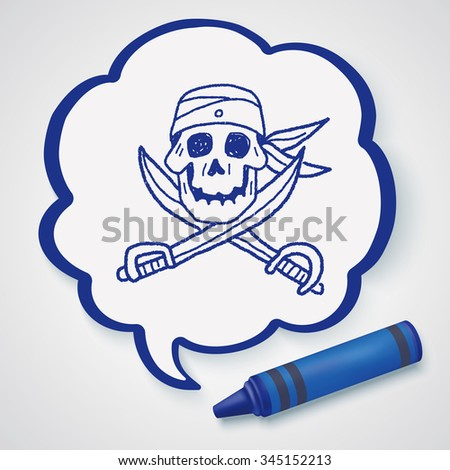 skull and knife doodle - stock photo