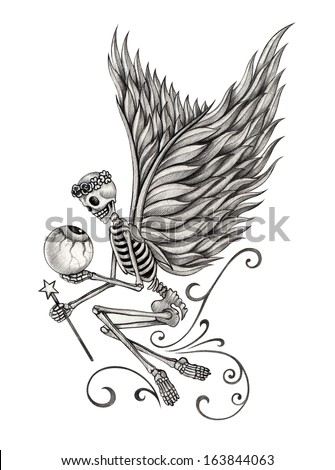 Skull angel. Hand drawing on paper - stock photo
