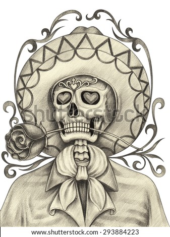 Skull art day of the dead. Hand pencil drawing on paper. - stock photo