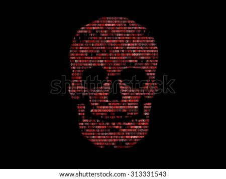 Skull binary code. Concept search of malicious code - stock photo