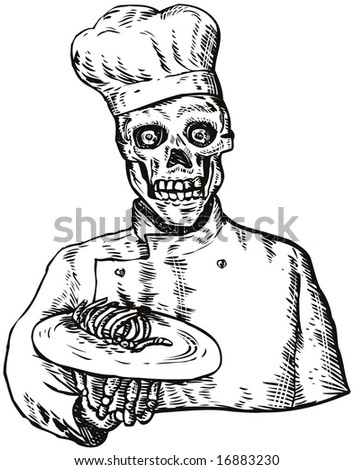 Skull chef dishing out a plate of bones - stock photo