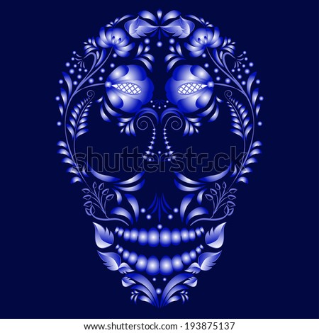 Skull decorated with blue pattern in Gzhel style. Design cards on the day of the dead.  - stock photo