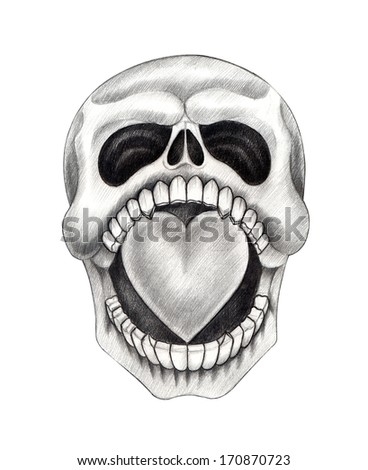 Skull heart tattoo .Hand drawing on paper. - stock photo