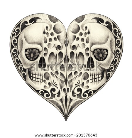 Skull heart tattoo. Hand drawing on paper. - stock photo
