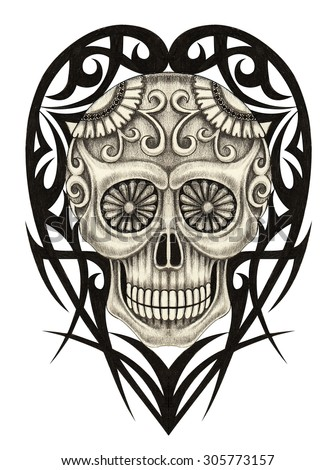 Skull Heart tattoo.Hand pencil drawing on paper. - stock photo