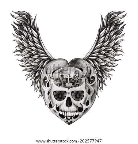 Skull heart wing tattoo. Hand drawing on paper. - stock photo