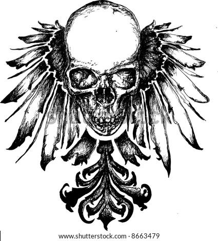 Skull heraldry illustration - stock photo