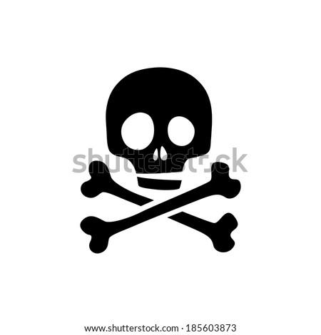 Skull icon isolated. Raster version. - stock photo
