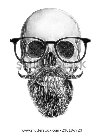 skull illustration / a mark of the danger warning / T-shirt graphics / cool skull illustration / skull with beard and mustache - stock photo