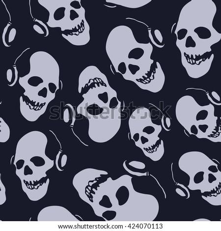 skull in earphones seamless background jpeg version - stock photo