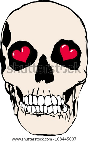 Skull in love with hearts - stock photo