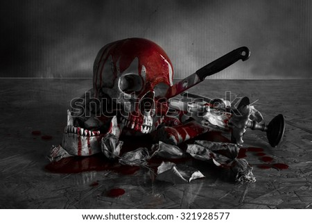 Skull  murder with black and white tone, Still Life style - stock photo