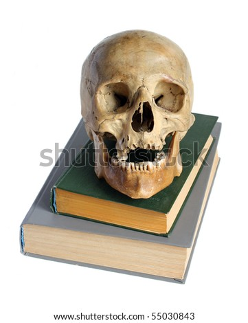 Skull of the person and the book. - stock photo