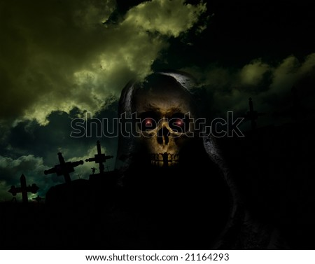 skull on hook in front of crosses in cemetery - stock photo