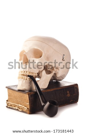 skull pipe and old book - stock photo