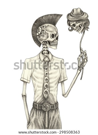 Skull punk day of the dead. Hand pencil drawing on paper. - stock photo