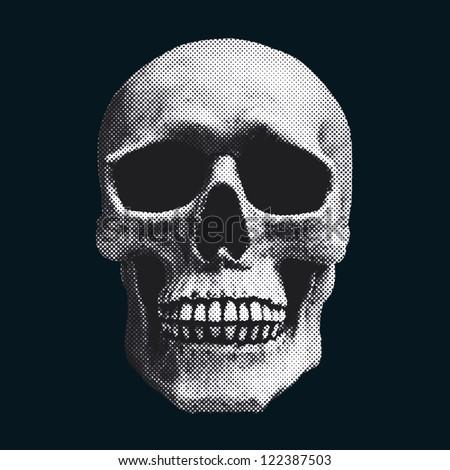 skull screened illustration - stock photo