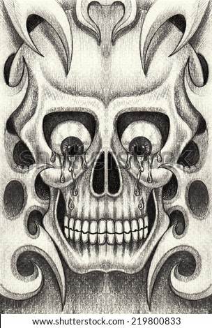 Skull tattoo. Hand drawing on paper. - stock photo