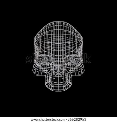 Skull. The Three-dimensional Skull on a Black background. Head. Death's Head. Jolly Roger. Wire Skull. Wire Skeleton. 3d model. Modeling. Rendering in 3D Program - stock photo