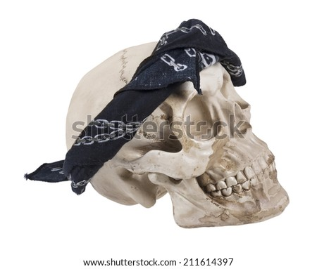 Skull Wearing a Black Bandana - Path included - stock photo