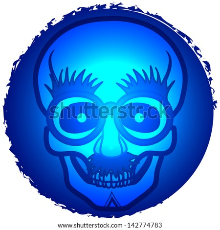 Skull wearing funny nose glasses. Raster - stock photo