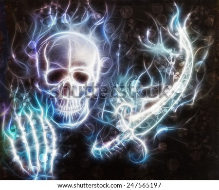 Skull with a hand a sword, sword airbrush painting with bokeh and fractal - stock photo
