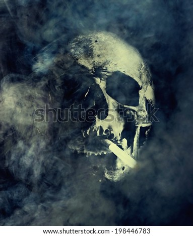 Skull with cigarette surrounded by smoke, smoking kills - stock photo