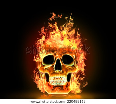 Skull with fire. High resolution 3d render. - stock photo