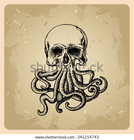 skull with octopus in a tattoo style.bitmap version - stock photo