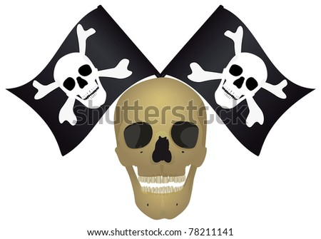 Skull with the crossed flags, raster illustration. - stock photo