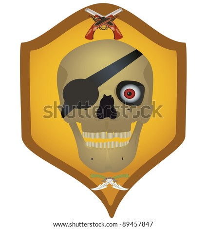 Skull with the crossed pistols and knifes, raster illustration. - stock photo