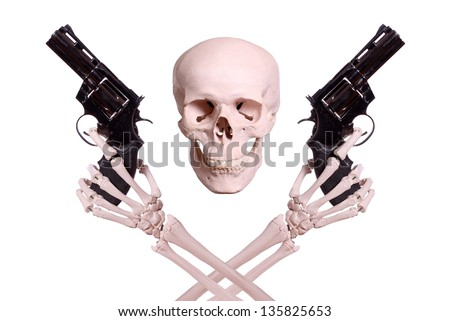 skull with two skeleton hands holding guns - stock photo