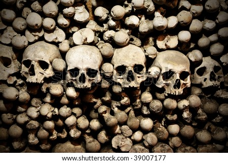 Skulls and bones in the bone chapel in Kutna Hora, Czech Republic - stock photo