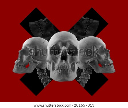 Skulls on red composition. Three skulls composition on red color background with black cross sign. - stock photo