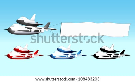Sky advertising, shuttle carrier aircraft with blank banner, different colors - stock photo
