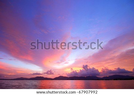 Sky after sunset. A beautiful red and blue - stock photo