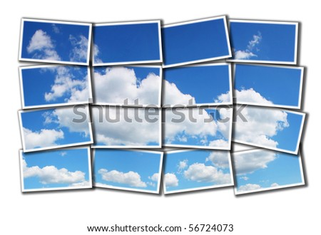 Sky and clouds mosaic - stock photo