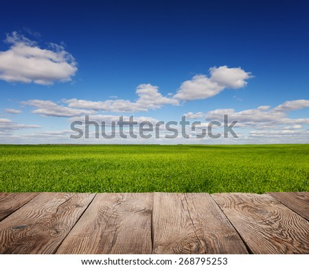 Sky and clouds with wooden board - stock photo