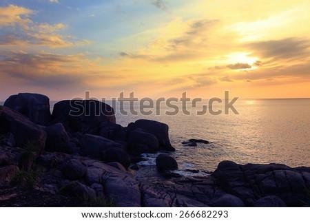 sky and sea sunset landscape - stock photo