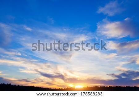 Sky background on sunset  - stock photo