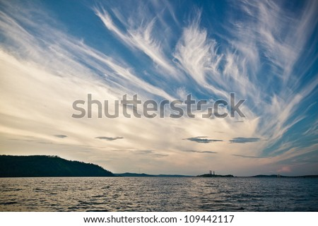 Sky background on sunset. Nature composition - stock photo