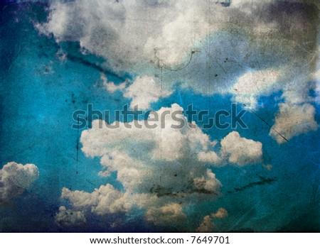 sky background - vintage grunge paper - stock photo