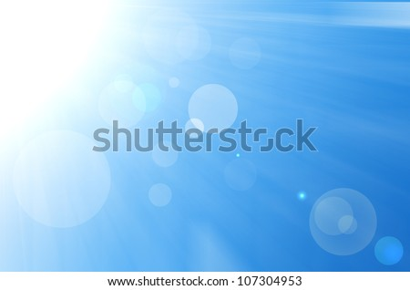 Sky background with sun burst and lens flare. - stock photo